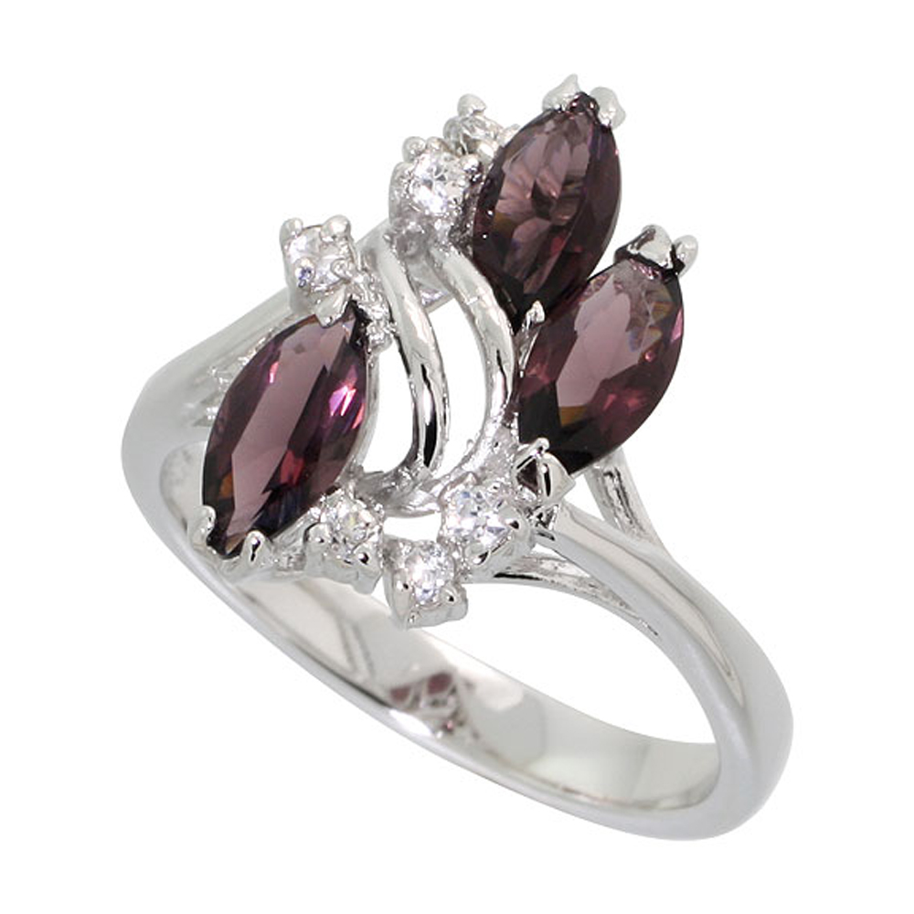 Sterling Silver Amethyst Cubic Zirconia 3-Stone Ring Navette Shape Rhodium finish, sizes 5 - 9