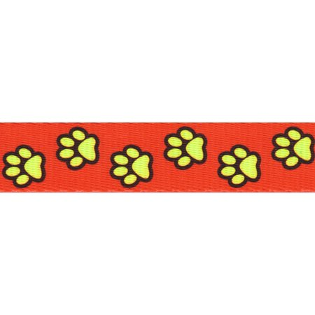 Country Brook Design® 5/8 Inch Red Busy Paws Polyester Webbing](Red Paw)