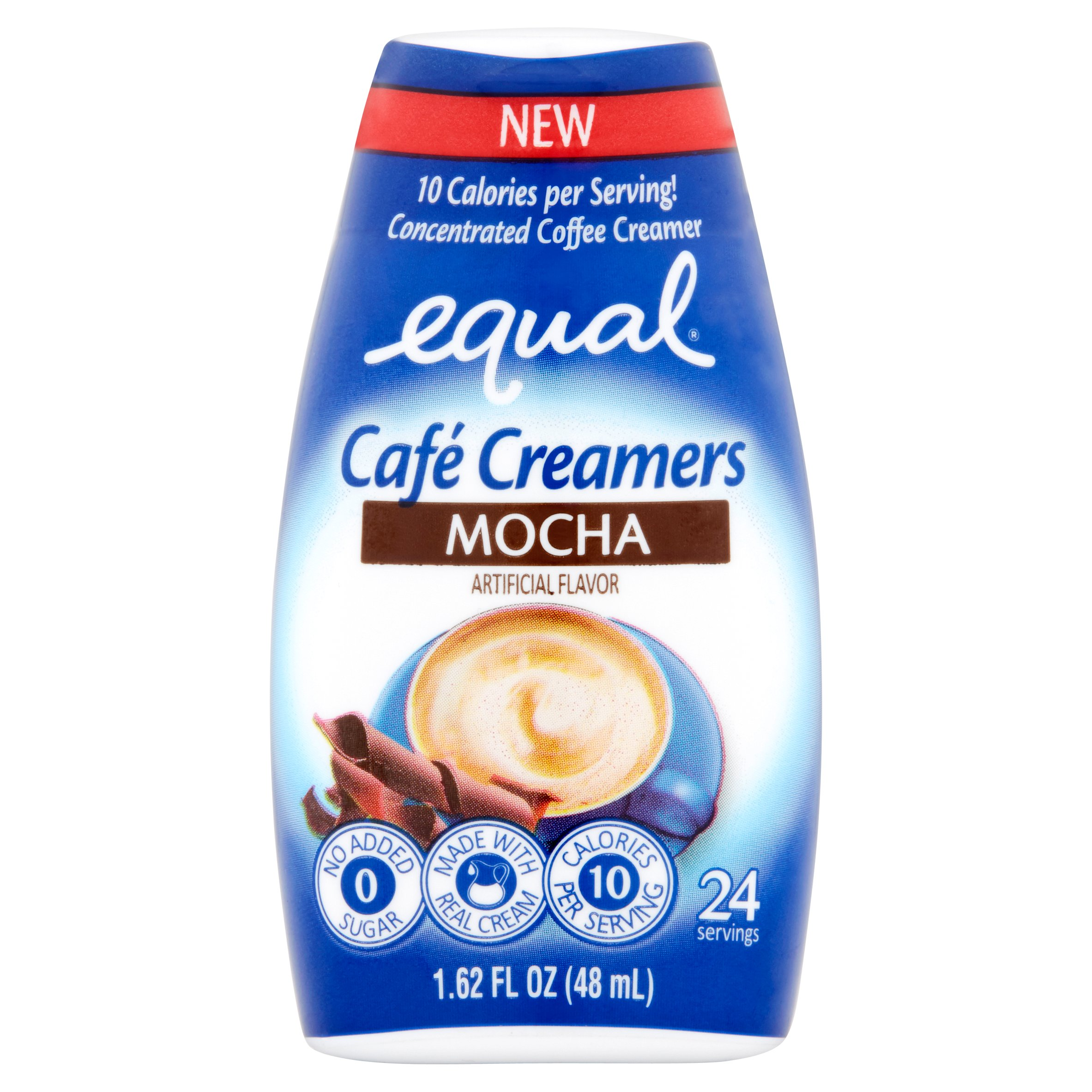 (6 Pack) Equal Cafe Creamers Mocha, Low-Calorie Coffee Creamer, 1.62 Fl Oz