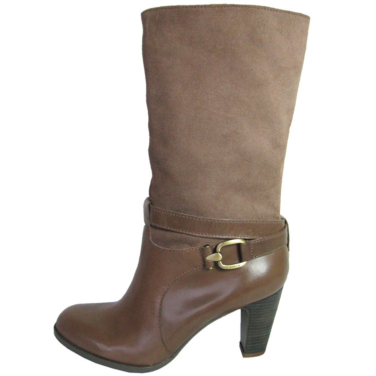 Circa Joan & David Womens Xenobia Zip Mid-Calf Heeled Boot