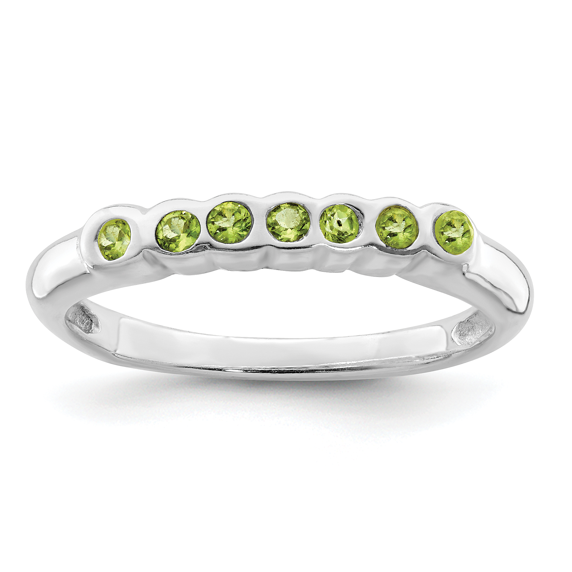 925 Sterling Silver Green Peridot Band Ring Size 7.00 Stone Gemstone Fine Jewelry Gifts For Women For Her - image 2 de 2
