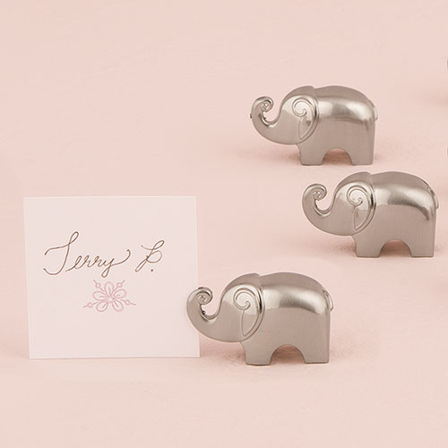 Lucky Elephant Card Holders with Brushed Silver Finish Set of 8 Weddingstar