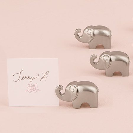 Lucky Elephant Card Holders with Brushed Silver Finish Set of 8 - Silver Place Card Holders