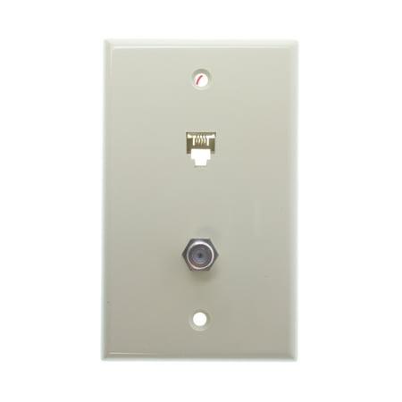 Leviton 40959-I Standard Telephone/Video Wall plate, 6P4C X F, Screw Terminals, Ivory