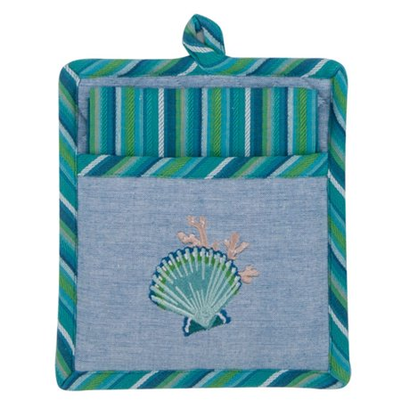 Scallop Shell Embroidered 2 Piece Pocket Mitt with Tea Towel Kitchen Gift (Scallop Shell Dish)