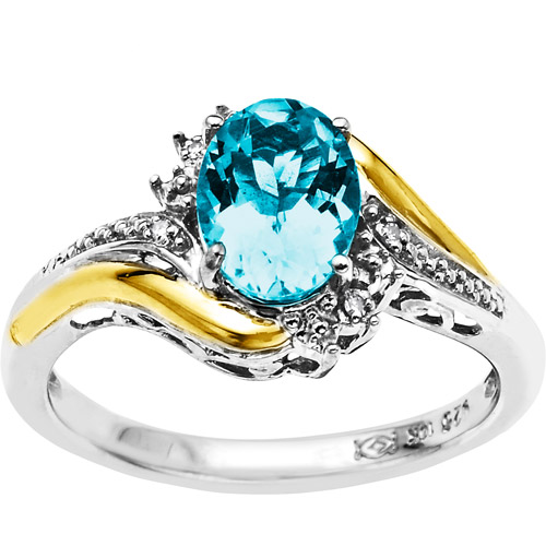 Duet Sterling Silver with 10kt Yellow Gold Oval Simulated Blue Topaz and Diamond Accent Ring