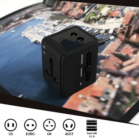 Universal Black All In One International Travel Power Converter Plug Adapter