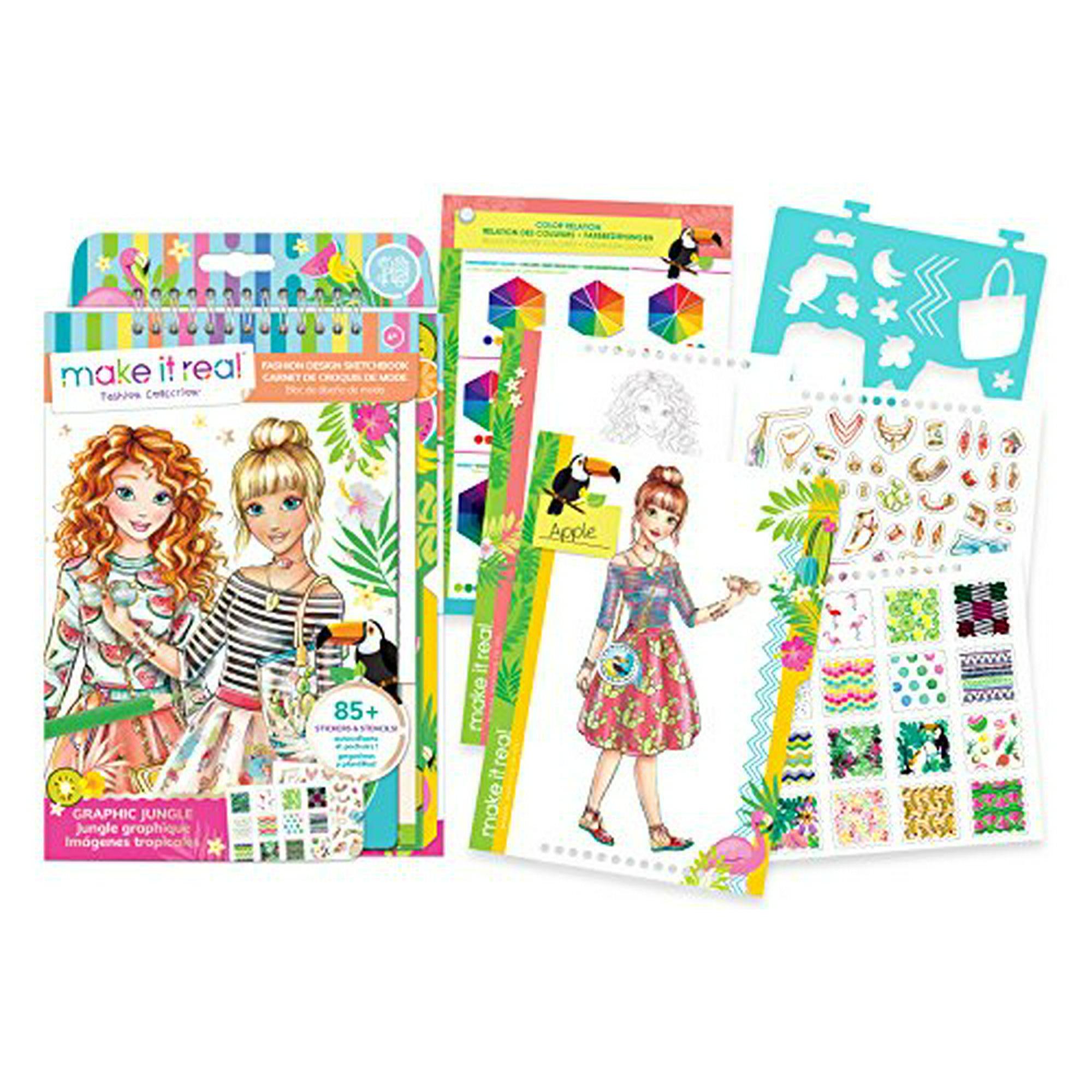 Make It Real A Fashion Design Sketchbook Graphic Jungle Inspirational Fashion Design Coloring Book For Girls Includes Sketchbook Stencils Puffy Stickers Foil Stickers And Fashion Design Gui Walmart Canada