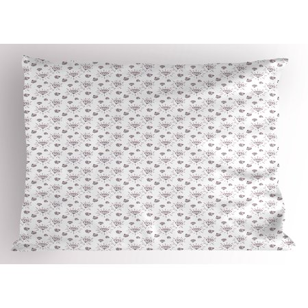 April Doodle (Diamonds Pillow Sham Hand Drawn Doodle Style Crystal Concept with Chevron Zigzag Stripes and Triangles, Decorative Standard Queen Size Printed Pillowcase, 30 X 20 Inches, Black White, by)