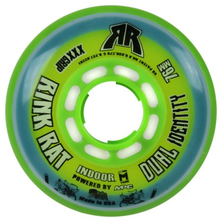 RINK RAT Single Wheel 76mm 76a DUAL IDENTITY Blue/Green Inline Indoor Hockey (76a Wheels)