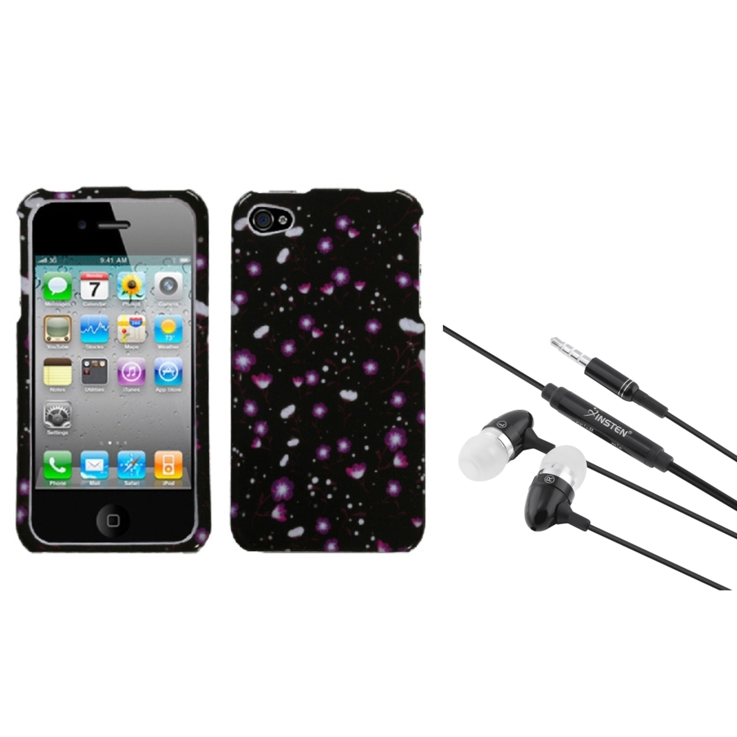Insten Starburst Flower Black Case For iPhone 4 4S + 3.5mm Handsfree Headset
