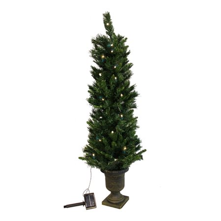 save off a8835 31fe7 4' Pre-Lit Potted Solar Powered Artificial Christmas Tree - Clear LED Lights