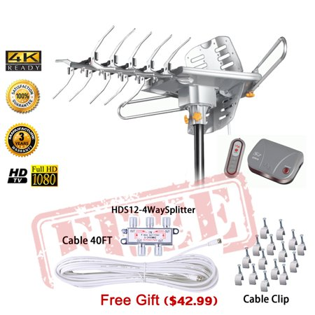 LAVA HD2605 Outdoor HD TV Antenna Remote Controlled Rotation Long Range 4K TV Installation