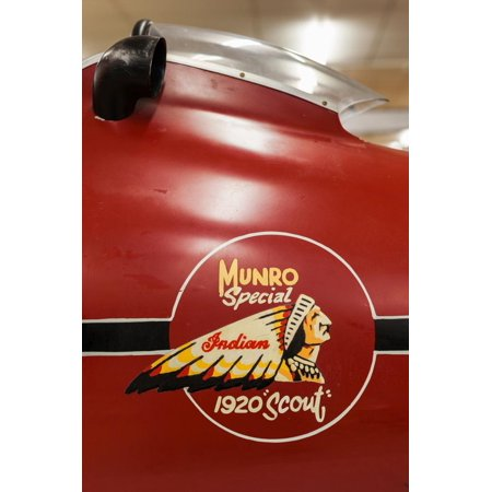Display of race winning Indian motorcycle once raced by Burt Munroe at E. Hayes & Sons, Invercar... Print Wall