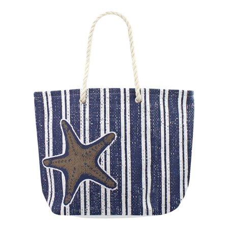 Navy Blue Starfish & Stripes Canvas Beach Tote Bag