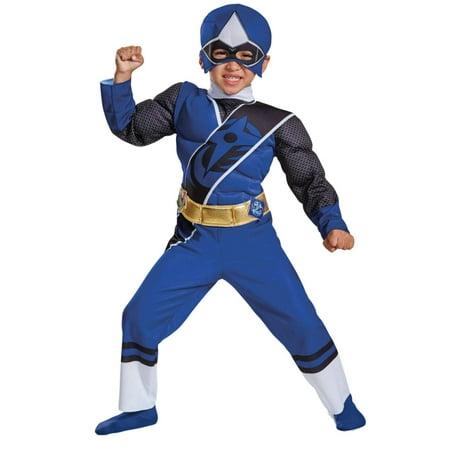 Navy Costumes For Boys (Toddler Boys Power Rangers Ninja Steel Blue Ranger Muscle)
