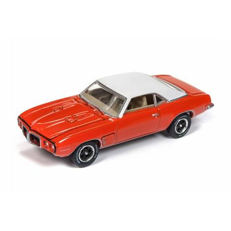 1969 Firebird - 1969 Pontiac Firebird, Red with white - Auto World AWSP018/24A - 1/64 scale Diecast Model Toy Car