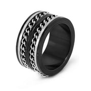 Black Plated Stainless Steel Double Chain Spinner Ring