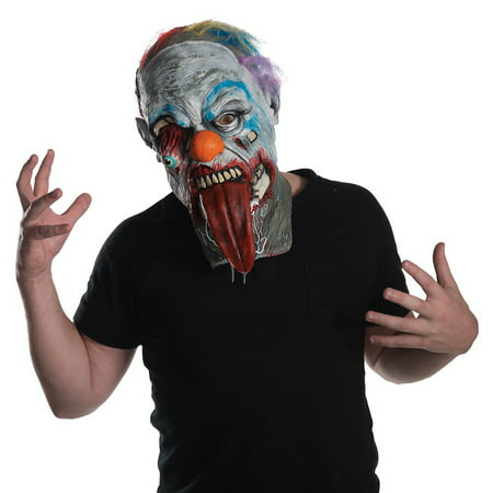 Zombie Adult Zombie Clown Overhead Latex Halloween Costume Mask - Latex Clown