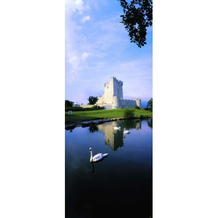 Ross Castle Lough Leane Killarney National Park Co Kerry Ireland 15Th Century Castle Canvas Art - The Irish Image Collection  Design Pics (12 x 31) (Autographed Kerry Wood)