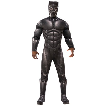 Marvel Black Panther Movie Mens Deluxe Black Panther Muscle Chest Halloween Costume for $<!---->