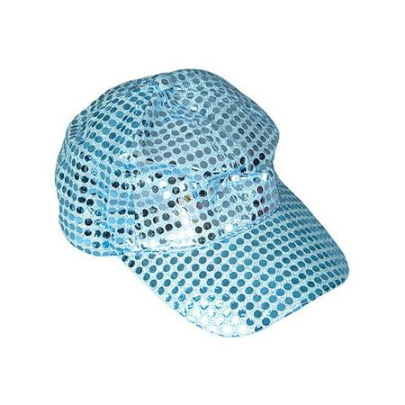 Adults Blue Funky Retro 70s Disco Sequin Baseball Cap