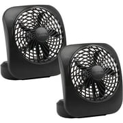 """O2Cool 5"""" Battery-Operated Fan, Black, 2 pack"""