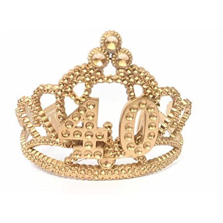 40th Birthday Tiara Crown (40th Birthday Princess Tiara Gold Crown Party Princess Plastic)