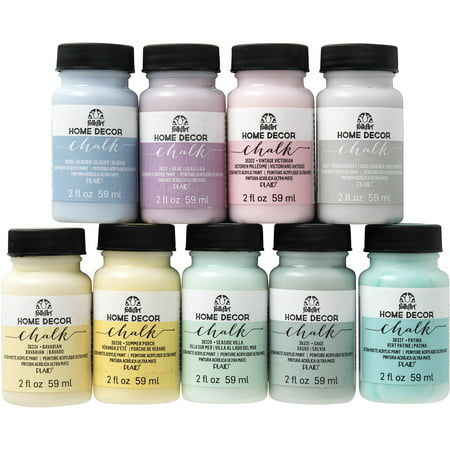 FolkArt 2 oz. Home Decor Chalk Acrylic Craft Paint Set, 9 Colors 2oz, Top Pastels