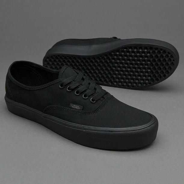 Vans Authentic Lite Canvas Black/Black Men's Classic Skate Shoes Size 10.5