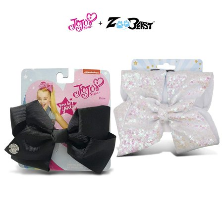 Warp Gadgets Bundle - JoJo Siwa Black Basic Bow and Zoo Beast Signature Collection Giant Sparkly White Sequin Hair Bow On Alligator Clip (2 Items)