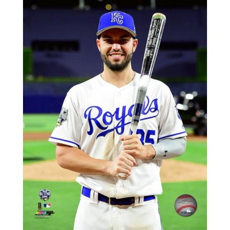 Eric Hosmer with the MVP Trophy 2016 MLB All-Star Game Photo - All Star Trophy