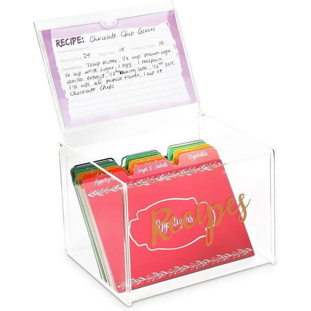 85 Piece Set Clear Acrylic Recipe Holder Box Organizer With 60 Cards And 24 Dividers Walmart Com Walmart Com