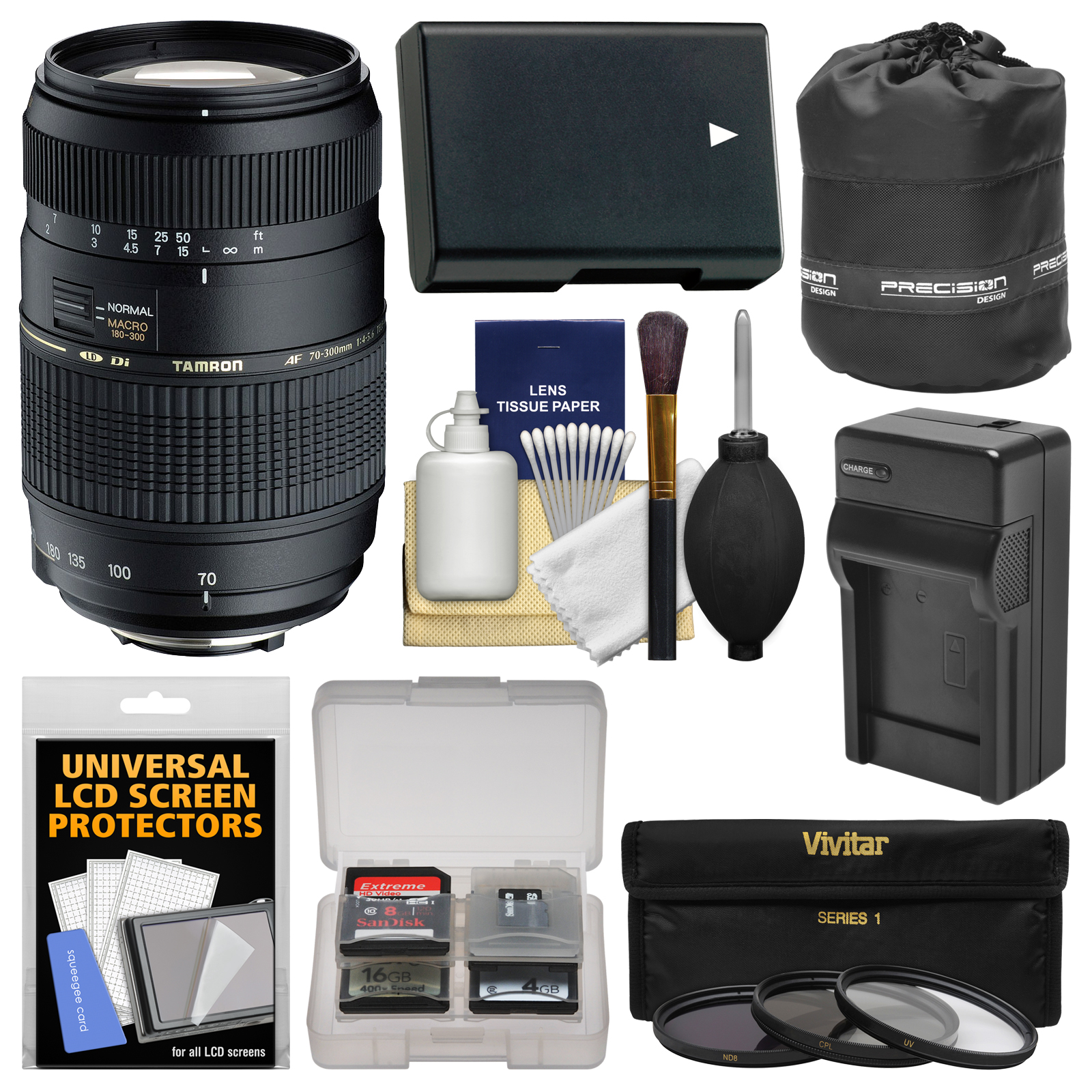 Tamron 70 300mm F 4 56 Di LD Macro 12 Zoom Lens BIM With EN EL14 Battery Charger 3 Filters Pouch Kit For Nikon D3200 D3300 D3400 D5300