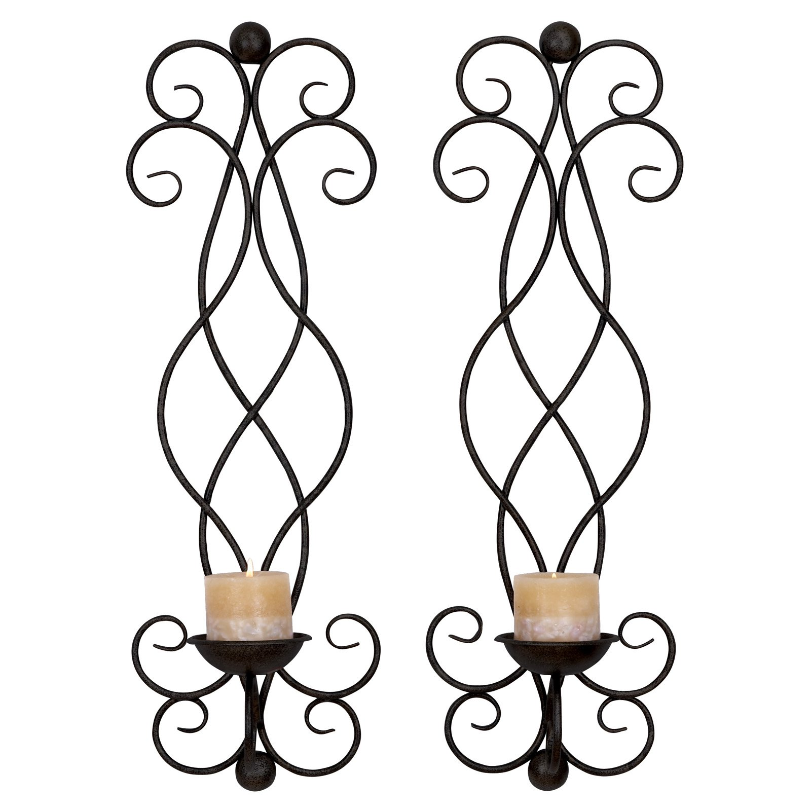 Decmode Metal Candle Sconce, Set of 2, Black by DecMode