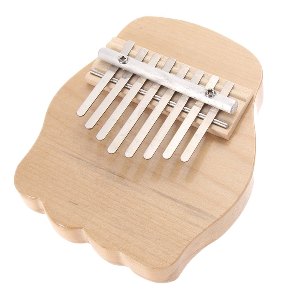 Mini Round Wooden 8 Keys Finger Thumb Piano Musical Instrument NEW Gift