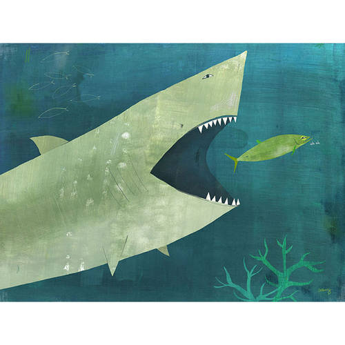 Oopsy Daisy's Uh Oh Shark Canvas Wall Art, 14x10