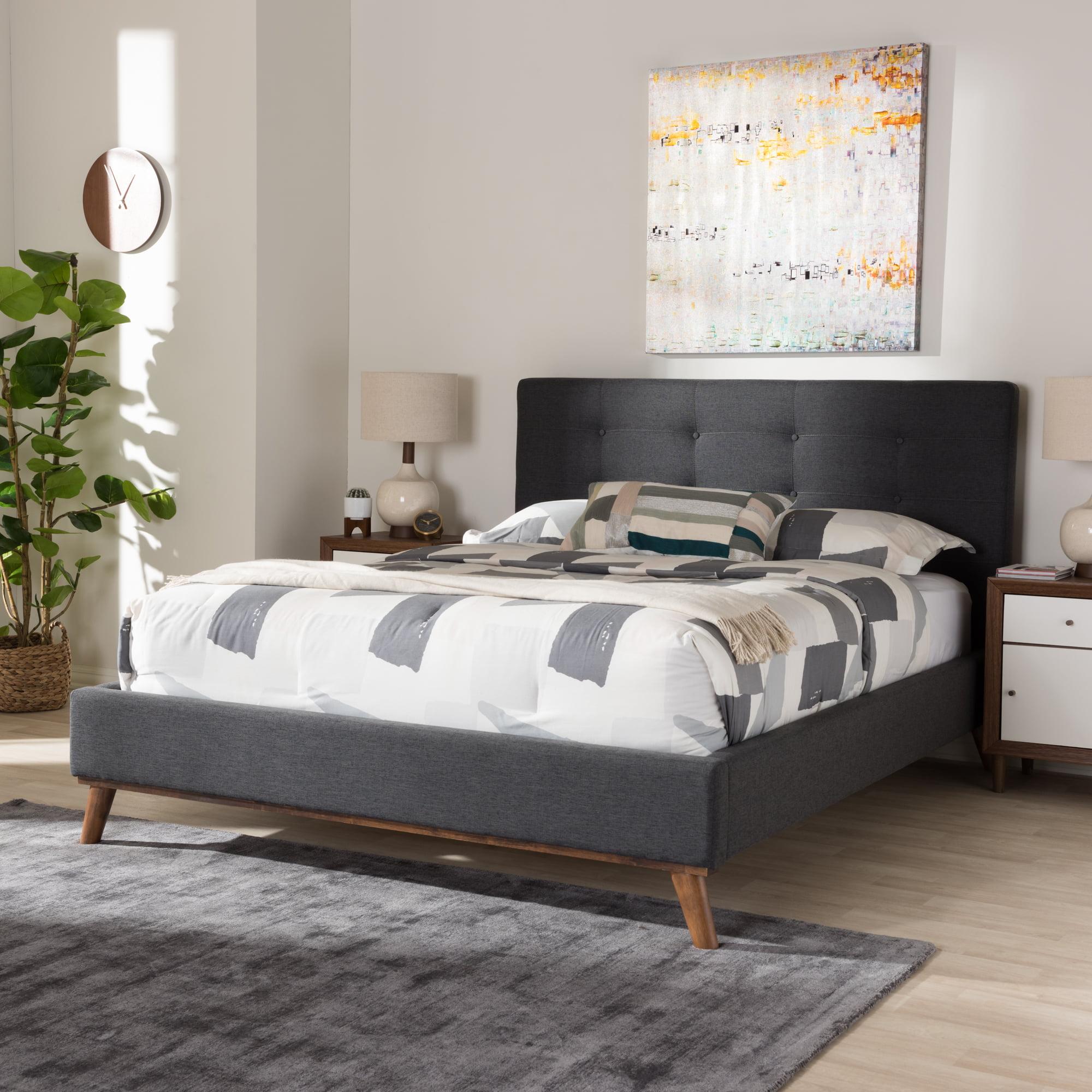 Baxton Studio Valencia Mid-Century Modern Dark Gray Fabric King Size Platform Bed