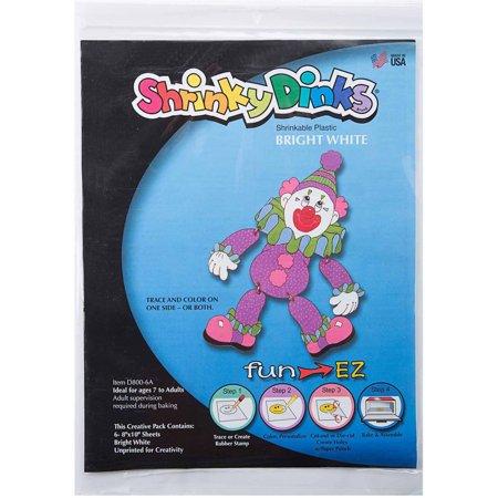 Shrinky dinks bright white 12 sheet pack for Craft plastic sheets walmart