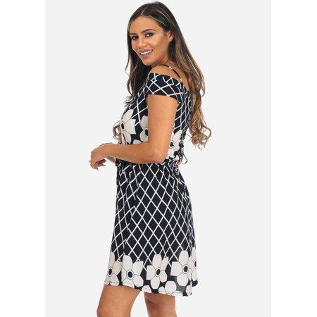 Womens Juniors Black Cold Shoulder Lace Up Floral Print Knee Length Dress 40353C