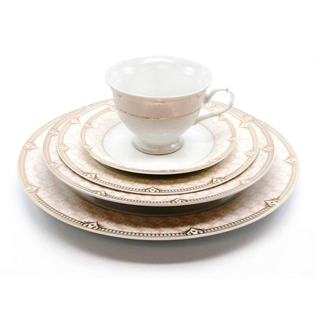 Royalty Porcelain Vintage Antique 20-pc Dinnerware Set 'Sandra Pink Gold', Premium Bone (Best Bone China Dinnerware)