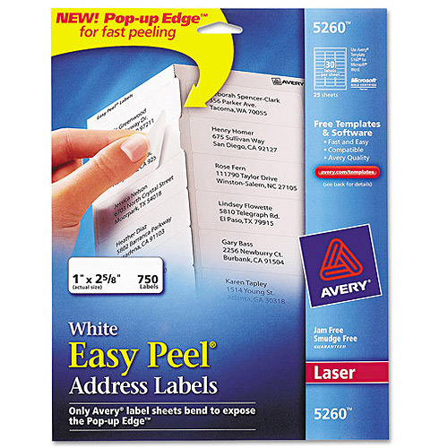 "Avery 5260 Easy Peel White Address Labels for Laser Printers, 1"" x 2-5/8"", 750 Labels/Pack"