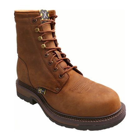 Twisted X Mens Distressed 8  Lite Cowboy Work Lace Up Boot Steel Toe   Mlcslm1