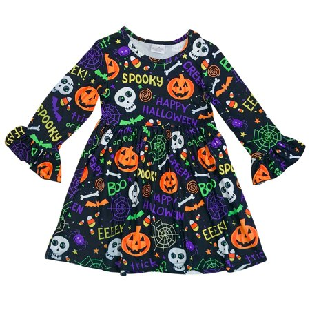 Toddler Girl Kids Long Sleeve Halloween Pumpkin Ghost Flower Girls Dress Black 2T XS 201750 BNY Corner - Toddlers Fancy Dress Halloween