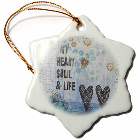 3dRose My heart soul and life mixed media collage - Snowflake Ornament, 3-inch