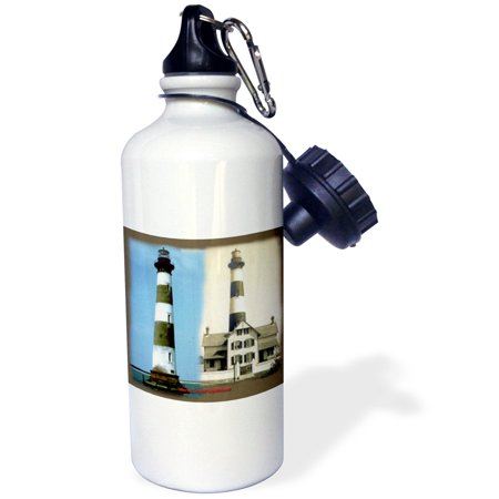 3Drose Morris Island Lighthouse And Camera Station  Now And Then 1914   Sports Water Bottle  21Oz