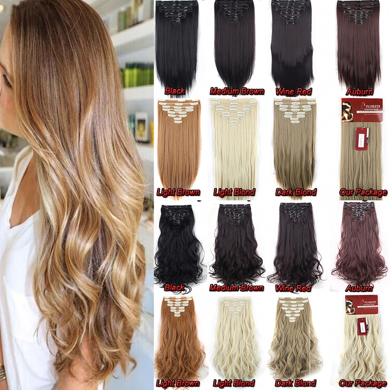 "FLORATA Women 24"" Long Curly Full Head Clip in Synthetic Hair Extentions 8 Piece 18 Clips Black Brown Blonde"