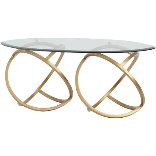 Horizon METAL HOOPS MODERN COFFEE TABLE GOLD WITH GLASS TOP
