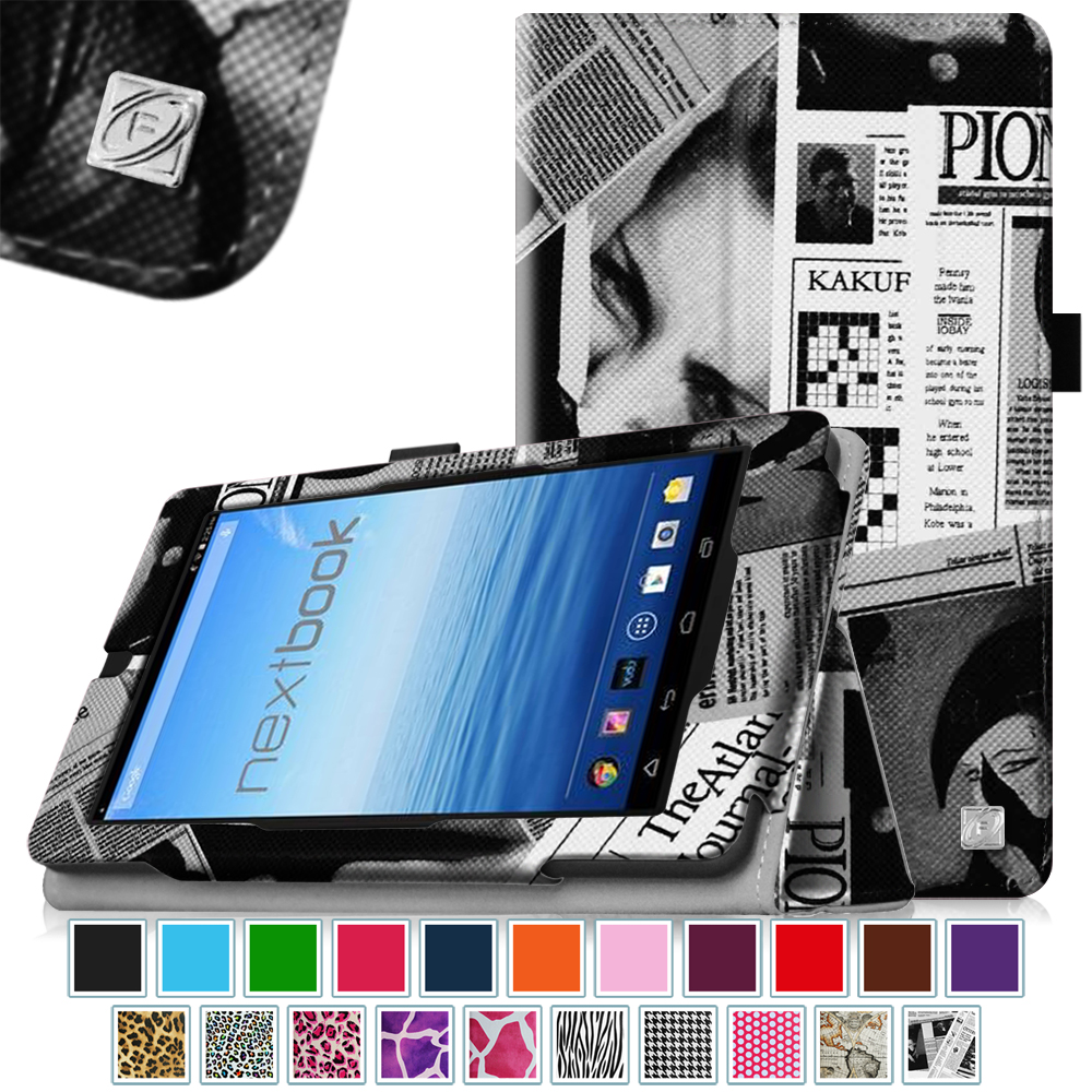 "Fintie Nextbook 7"" Tablet (NX700QC16G) Case - Premium PU Leather Folio Cover With Stylus Holder, Newspaper"