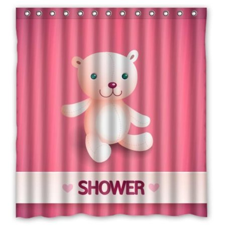 Cartoon For Kids Cute Bear Shower In Pink Curtain 66x72 Waterproof Polyester Fabric